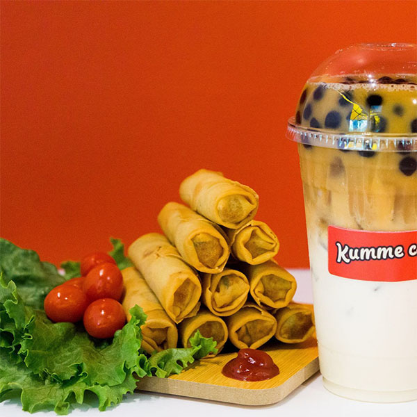 Spring rolls and bubble tea